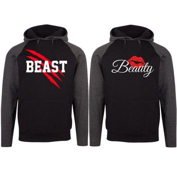 New Beast and Beauty Two-tone Black / Charcoal Raglan Hoodie