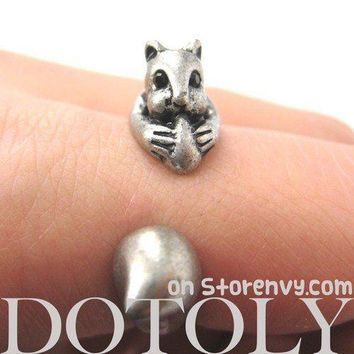 Squirrel Chipmunk With Acorn Animal Wrap Around Ring in Silver | US Sizes 5 to 9