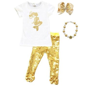 Gold Mermaid Outfit Sparkle Sequin Top And Pants cc503ee92
