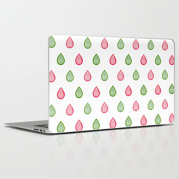 Pink and green raindrops Laptop & iPad Skin by Savousepate