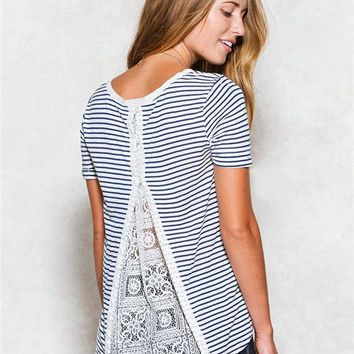 Striped Lace Inset Top