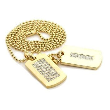 ESBONRC NEW ICED OUT HIP HOP DOUBLE DOG TAG 18k GOLD FILLED W 30' BALL CHAINS DTC002GS