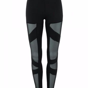 Hot sell! Women sexy bodycon perspective black Hip Hop pants 2016 Autumn femme fashion gauze splicing long trousers#Y240