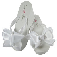 Bridal Flip Flops/ Bridesmaid Bow Flip Flops for the Wedding, Classic Knotted bow, 3.5 inch heel/ 2 inch, 1.25 inch, flat Ivory White Wedges
