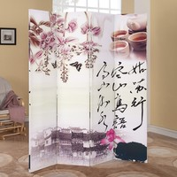 A.M.B. Furniture & Design :: Room Divider Screens :: Trudy 4 panel canvas Asian style theme design room divider shoji screen
