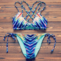 Blue two straps back straps cross bottom side knot two piece bikini