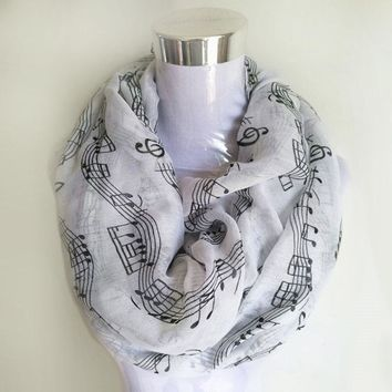 Navy bule Musical Notes winter Infinity Scarf Women music shawls and scarves foulard bufandas mujer 2017 echarpes foulards femme