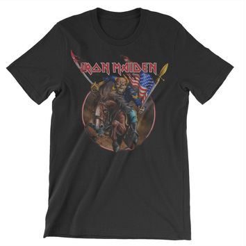 Iron Maiden Men's  Maiden England Custer USA 2012 Slim Fit T-shirt Black