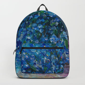 Bouquet Of Forget Me Nots by Lena Owens Backpacks by Lena Owens/OLenaArt