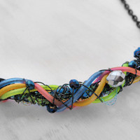 Rainbow Necklace Futuristic Necklace Rave Necklace Machine Necklace Party Necklace Cyberpunk Necklace Cosplay Jewelry LARP Jewelry Hazpunk
