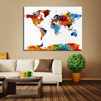 Colored Watercolor World Map Canvas Wall Art, Colored World Map Wall Decor, World Map Wall Art Canvas, No:048