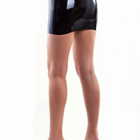 Black latex mini skirt