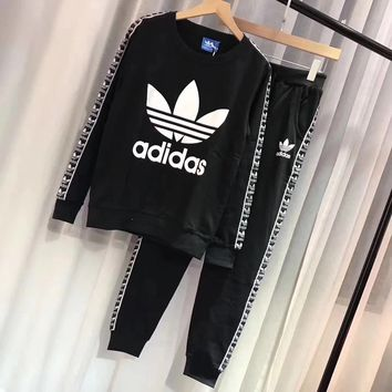 """Adidas"" Women Fashion Tnt Tape Sweatshirts Top Tnt Tape Pants Sweatpants Set Two-Piece Sportswear"