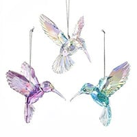 Acrylic Hummingbird Christmas Ornaments, Pink/Iridescent, 3-Inch, 3-Piece