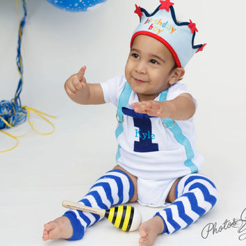 BOYS FIRST BIRTHDAY Outfit-Boys Birthday Bodysuit with Royal Blue Number 1