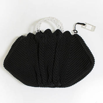 Vintage 1940s Purse - Oversized Black Crochet Lucite Handle Clutch Bag
