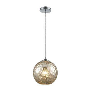 Watersphere 1 Light Pendant In Polished Chrome With Mercury Hammered Glass