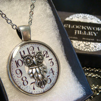 Silver Owl over Clock Face  Pendant Necklace (1963)