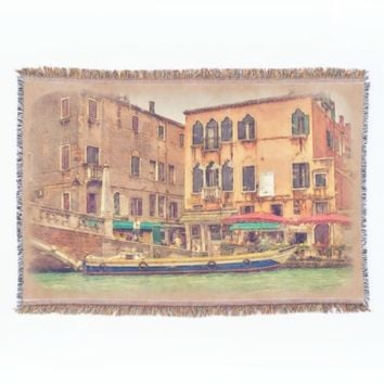Colorful Italy Venice Canal Watercolor Painting