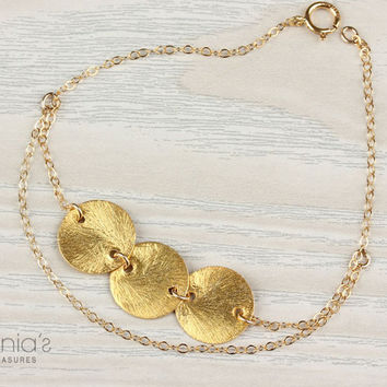 "Disc gold bracelet, brushed bracelet, bridesmaid bracelet, 14k gold filled, coin bracelet, everyday bracelet, wedding bracelet, ""Calypso"""