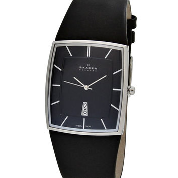 Skagen 567LSLB1 Men's Denmark Quartz Leather Strap Black Dial Watch