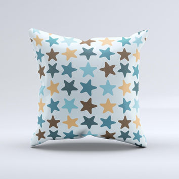Vector Colored Starfish V1 Ink-Fuzed Decorative Throw Pillow