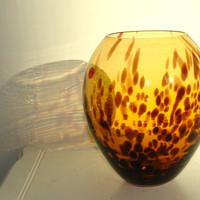 glass vase hand blown art glass vases made in Poland Makora amber vases design, handmade gift ideas