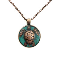 Sea turtle jewelry / turtle necklace / ocean jewelry / brass or copper pendant / tortoise jewelry / mothers day jewelry