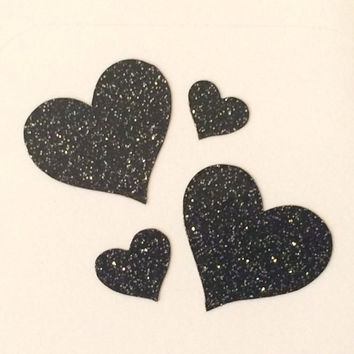 Black Glitter Vinyl Heart Decals, Heart Nail Stickers, Heart Nail Stencils