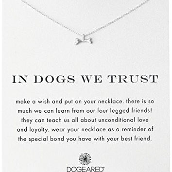 """Dogeared """"Reminders"""" In Dogs We Trust Bone Silver Charm Necklace, 18"""""""