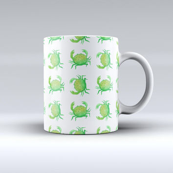 The Seamless Green Crab WaterColor ink-Fuzed Ceramic Coffee Mug