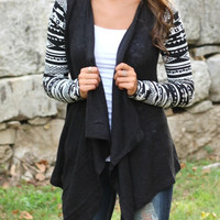 Geometric Pattern Cardigan - Black