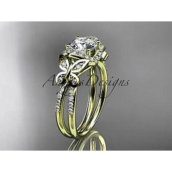 14kt yellow gold diamond butterfly wedding, engagement ring  ADLR141
