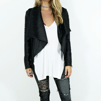 Lights Out Black Leather Moto Jacket