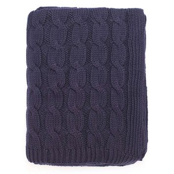 The Navy Large Cable Knit Throw
