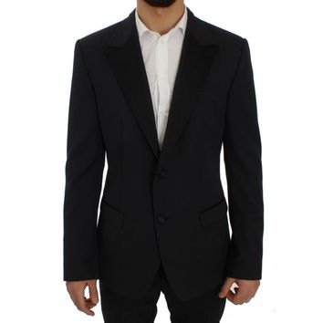 Dolce & Gabbana Blue Wool Silk Slim Fit Blazer Jacket