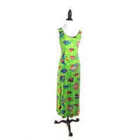 90's Neon Tropical Fish Print Maxi Dress
