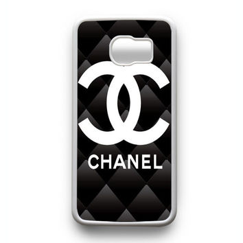 chanel logo black pattern Samsung Galaxy S6 Edge Case