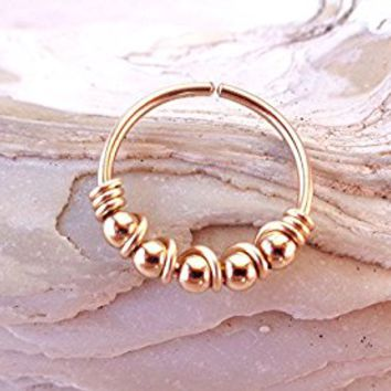 Septum Ring Bead Wrapped Seamless,Endless Hoop,Segment Hoop,Earring,Nose ring,Tragus,Rook,Lobe