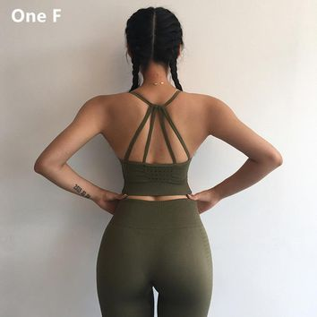 One F Sports Bra For Women Gym Adjustable Strappy Hollow Out Sportswear Wireless Activewear Push Up Energy Seamless Yoga Bra