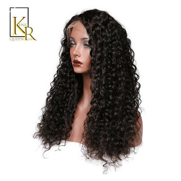 Cool Lace Front Human Hair Wigs For Women Remy Brazilian Short Curly Lace Wig Pre Plucked With Baby Hair Black Color King Rosa QueenAT_93_12