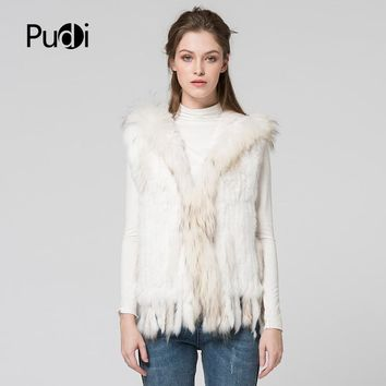 VR019 Free women vest real natural rabbit vest fur with raccoon fur with hooded collar trimming waistcoat