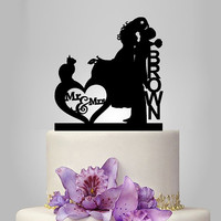 acrylic wedding cake topper, Wedding Cake Topper Silhouette Couple Mr & Mrs personalize Name and cat, funny cake topper, unique cake topper