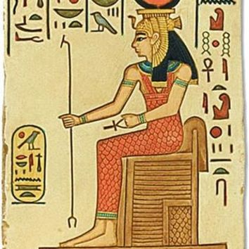 Hathor Egyptian Goddess of Women Seated on Throne Small Wall Art Relief 6.5H