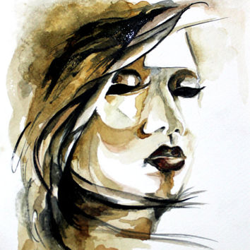Original watercolor women.  painting . coffee brown. female desing painting. Mother's day gift, gift card,