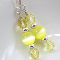 Yellow Catseye Czech Crystal Earrings