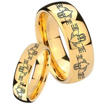 His Her Glossy Dome Irish Claddagh 14K Gold IP Tungsten Wedding Rings Set