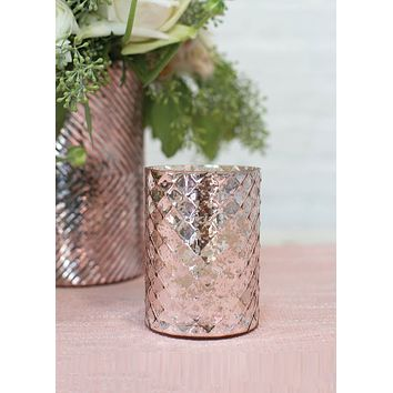 "Small Romance Mercury Glass Floral Vase in Blush - 4"" Tall x 3"" Wide"