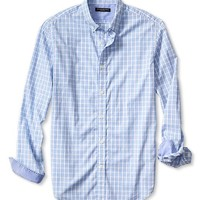 Slim Fit Soft Wash Border Gingham Shirt