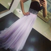 Fashion 2015 women dress party evening elegant sleeveless strapless cute chiffon patchwork floor length long dress 0164